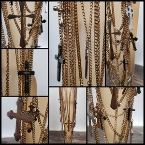 Jewelry - Multi Layered Chain Cross Necklace